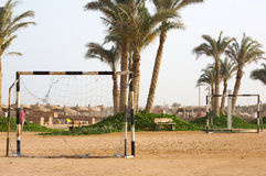 Football goal on a beach Stock Photography