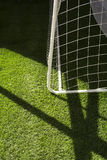 Football goal. Beautiful view of football field and goal, green grass Stock Photos