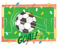 Football GOAL concept vector illustration with flying ball. And a green football field from top view Stock Photo