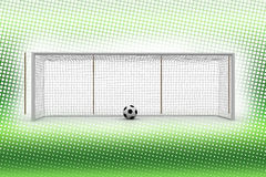 Football and goal court in Halftone Background Royalty Free Stock Photos