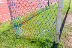Football goal detail with a soccer.  Stock Image