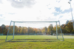 Football goal on field Stock Photography
