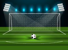 Football goal on a green field with a football. Vector Stock Photography