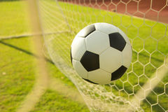 Football in goal Royalty Free Stock Photo