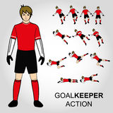 Football Goal keeper action, Illustration, Vector, Background Royalty Free Stock Image