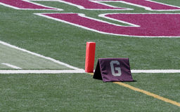 Football Goal-Line. A football field's goal-line. Symbols of achievement stock images