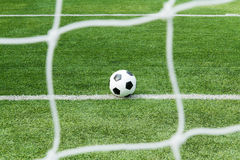Football on goal line Royalty Free Stock Photography