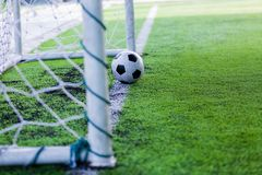 Football on goal line. royalty free stock photography