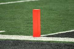 Football Goal Line Pylon Royalty Free Stock Photos