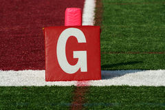 Football goal line yard marker Royalty Free Stock Images