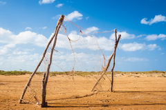 Football goal in the middle of nowhere Stock Images