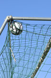 Football in the goal net Stock Photo