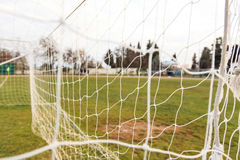 Football goal net close up. Football and soccer goal net close up Royalty Free Stock Image