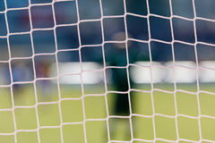 Football goal net with stadium background Royalty Free Stock Photo