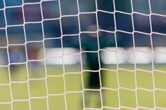Football goal net with stadium background royalty free stock photo