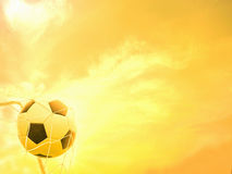 Football in goal net Stock Photos