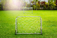 Football Goal with Play-field View Royalty Free Stock Photo