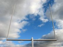 Football goal post. Football field goal posts against the sky stock image