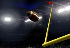 Football goal score in a stadium at night Stock Image