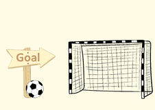 Football goal and sign Royalty Free Stock Photos