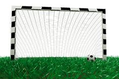 Football goal and soccer ball Stock Photo