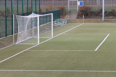 A football goal on synthetic turf Stock Photography