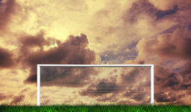 Football goal under cloudy sky Royalty Free Stock Photography