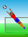 Football goalkeeper. Football background, gambling goalkeeper catches the ball, vector illustration Royalty Free Stock Image