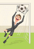 Football goalkeeper catches ball. Penalty kick in soccer vector illustration