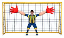 Goalkeeper. Football goalkeeper in striped form and red gloves prepared to hit the ball. 3D illustration Royalty Free Stock Photo