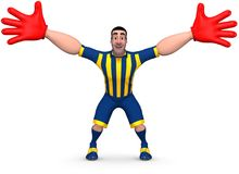 Goalkeeper. Football goalkeeper in striped form and red gloves prepared to hit the ball. 3D illustration Stock Photos