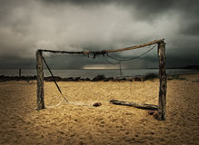 Football goals at the beach Stock Photography