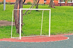 Football goals on the children playing field Royalty Free Stock Images