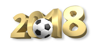 Football 2018 golden 3D render ball design. Graphic Royalty Free Stock Image