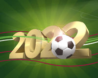 Football 2022 golden 3D render football. Design Royalty Free Stock Photos