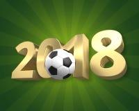 Football 2018 golden 3D render football. Design Stock Images
