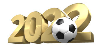 Football 2022 golden 3D render football design. Graphic Stock Image