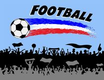 Football graph and brush strokes with soccer fans silhouettes. The silhouette and the background are in different layers and the text types do not need any Stock Images