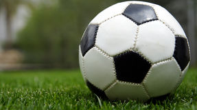 Football on grass. Focus on the grass Royalty Free Stock Photos