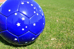 Football. On a grass lawn of sports stadium Stock Image