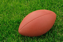 Football on a grass playing field Royalty Free Stock Images