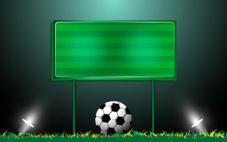 Football on grass and scoreboard. EPS 10 vector Royalty Free Stock Photo