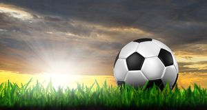 Football in green grass. Over a twilight sky Royalty Free Stock Photography
