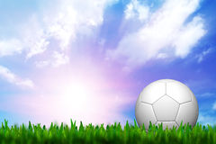 Football in green grass. Over a twilight sky Royalty Free Stock Photo