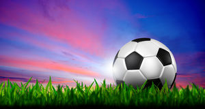 Football in green grass over a twilight sky.  Royalty Free Stock Photo