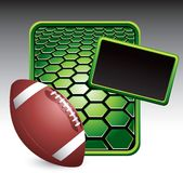 Football on green hexagon advertisement Stock Photography