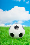 A football on a green lawn. Against a blue cloudy sky Stock Images