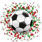 Football Green Red Confetti Italy Royalty Free Stock Photo