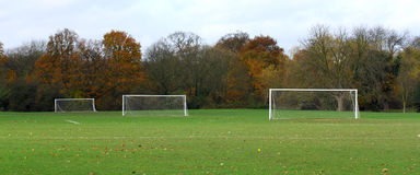 Football ground. Local football ground taken in autumn Stock Photo