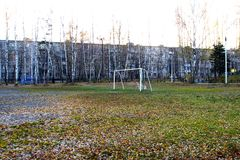 Football ground in a birch grove. Stock Photo